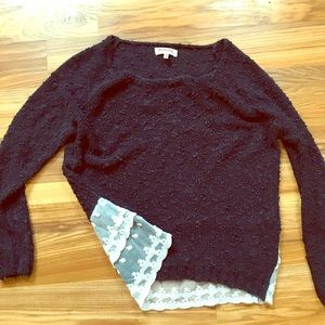 Navy Sweater with back bottom lace